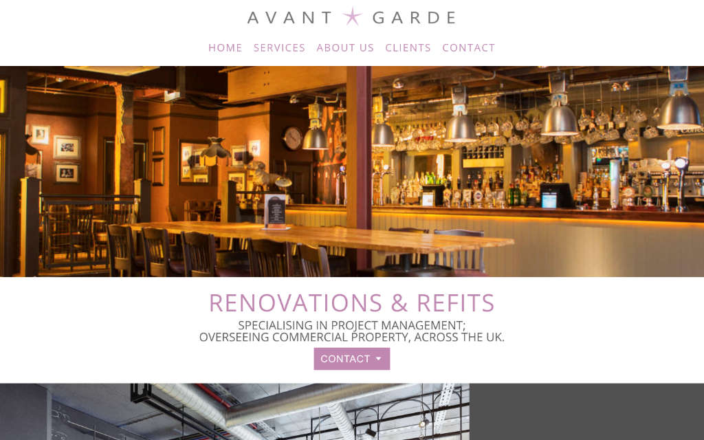 Screenshot of Avant Garde Renovations & Refits Homepage Section
